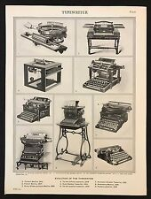 Vintage Print/Plate 1929 Encyclopedia Britannica, EVOLUTION OF THE TYPEWRITER
