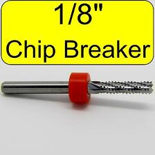 "1/8"" Router - Carbide - Chip Breaker Flutes - Fishtail Tip Up Cut 