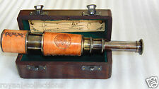"BRASS NAUTICAL TELESCOPE WITH WOODEN BOX-DOLLAND LONDON 1920 BRASS 16"" TELESCOPE"