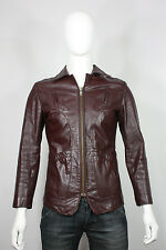 Vintage leather jacket s chess king rock 'n roll brown western 70's vtg fitted