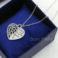 1Pc Two-sided Heart Sweet Mother & Daughter Necklace Pendant Necklace Jewelry