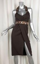 DSQUARED Womens Brown Crystal Rhinestone Belted Sleeveless Dress 40 XS NEW