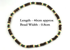 Green Brown Wood Bead Necklace Tribal Beach Coconut Surfer Cool Mens Womens