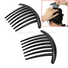 2Pcs Women Girls Black Plastic Side Clip Hair Comb Slide Headwear Accessory