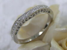 ANTIQUE STYLE 14KT WG GENUINE 22 DIAMOND CURVED WEDDING BAND FILIGREE DECO RING