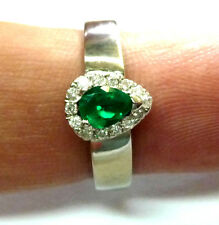 PEAR-SHAPED EMERALD & DIAMOND 18K SOLID WHITE GOLD  Ring -size 7
