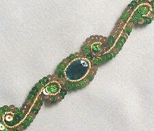 Green & Gold. 3 Yards. Hand-Beaded Trim. Sequins, Bullion, Gems Embroidery