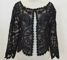 Baraschi Womens Black Floral Lace Hook And Eye Jacket NWT Size Medium