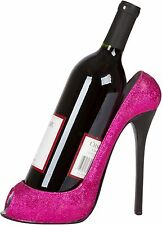 wine high bottle holder glitter heel shoe caddy wild pink eye stiletto rack new