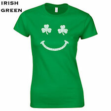 107 Irish Clover Smile Womens T-Shirt smiley face funny st. patricks day costume