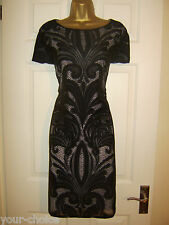 DEBENHAMS FAB BLACK NUDE LACE EVENING PARTY DRESS SIZE 14 16