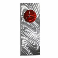 Abstract Silver Modern Etched Metal & Painted Wall Clock - Red Aura by Jon Allen