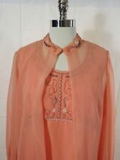 Dreamy Vtg 50s 60s Elgin GLASS BEADED GOWN & SHEER COVER UP Orange Chiffon Sz M