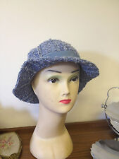 VINTAGE 70'S BLUE WOOL KNIT RIBBON TRIM TRILBY SUMMER  HAT