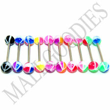 W028 Acrylic Tongue Rings Barbells Peace Sign LOT of 10