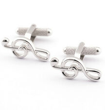 New Men's Wedding Party Gift Silver Plated Music notation CuffLinks
