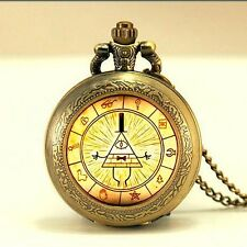 New Drama Gravity Falls Mysteries BILL CIPHER WHEEL pocket watch Necklace MENS