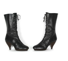 Granny Boots Black Leather Gothic Victorian Steampunk Womens Boots size 7 1/2