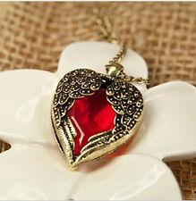 Womens  Vintage Red Hearts Long Necklace Angel Wings Sweater Pendant Decorations
