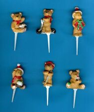 6 FESTIVE TEDDY CAKE / CUPCAKE TOPPERS Christmas cake decorations