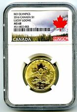 2016 CANADA $1 LUCKY LOONIE RIO OLYMPICS NGC MS68 DOLLAR TOP POP=7 LANDSCAPE