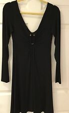 "Just Cavalli Long Sleeve Low Cut Dress in Black w/Gold ""U"" at Front - Size 44"