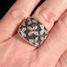 Platinum Sterling Silver 1/4 Ct Carat Pave Diamond Cocktail Cigar Wedding Ring 7