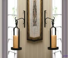 Set of 2 Contemporary Black Wall Sconces Clear Hurricane Pillar Candle Holders