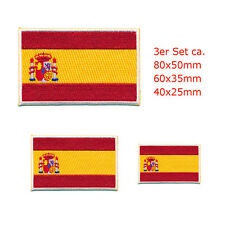 3 Spanien Flaggen Spain Flags Madrid Barcelona Patch Aufnäher Aufbügler Set 0663