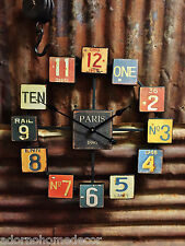 Metal License Plate Wall Clock Paris Industrial Distressed Rustic Chic Vintage
