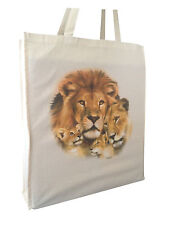 Stunning Lion Natural Cotton Shopping Bag Tote Long Handles & Gusset - Gift Idea