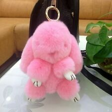 2016 Bunny Rex Rabbit Fur Phone Car Pendant Handbag Girl Key Chain Ring Pom