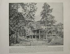 "1898 PRINT + TEXT ~ ""OLD LOG CABIN"" LAKE PLACID ADIRONDACKS ~ NEW YORK"