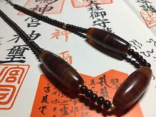 Chinese Tibetan natural banded agate Chung Dzi bead necklace protection pendant