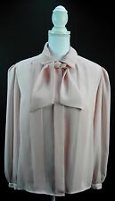 Unbranded Classic Cameo Pink Georgette Pussy Bow Long Sleeve Career Blouse Sz L