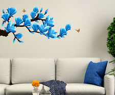 Wall Stickers Floral Branch with Artistic Flowers in Blue Home Decoration