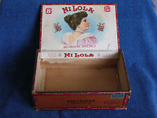 """Antique """"Mi Lola"""" Brand Wooden Cigar Box with Beautiful Girl Labels/Milwaukee WI"""