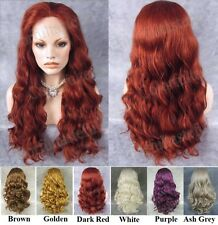 "24""Front lace long wavy wine red purple red brown orange synthetic fashion wig"