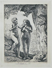 """Adam and Eve"" By Rembrandt Restrike Etching by Amand Durand 6""x4 1/2"""