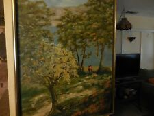 Oil on Canvas Painting of Boy & Girl in Woods y A. Robinson W/Anco Bilt Frame