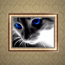 DIY 5D Diamond Embroidery Mosaic Blue Eyes Cat Painting Cross Stitch Home Decor