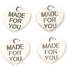 500pc Wholesale Antique Silver MADE FOR YOU Letters Carved Alloy Heart Pendant C