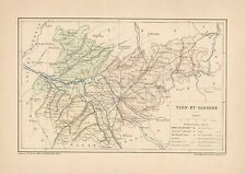 C9080 France - TARN-ET-GARONNE - Cartina geografica antica - 1892 antique map