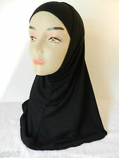 Black Two Piece Plain Hijab Muslim Head Wear Cover Women Scarf Cap Islam Cotton