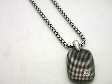 "David Yurman Silver 25mm Sky Tablet Enhancer on 22"" Box Chain Necklace NWT"