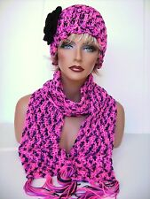 NEW HOT PINK BLACK FLOWER HAT AND SCARF SET BEANIE SKULL SKI CAP CLOCHE TAM