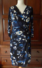Ghost Luxe Clio dress in Blurred Floral Blue size 14, BNWT
