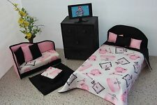 Handcrafted Furniture Bed / Chaise Chair Set For Barbie Monster High