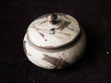 UNUSUAL VINTAGE BRASS CLOISONNE ? POT & LID  DRAGONFLY WATER LILY DESIGN PAINTED