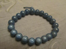 Shiny Blue Small Plastic Bead Elasticated Bracelet